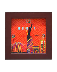 The Elephant Company Mumbai Cityscape Orange Alarm Clock, multicolor