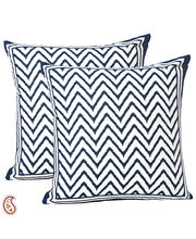 Blue Chevron Pigment Print Pure Cotton Cushion Cover Set, Multicolor