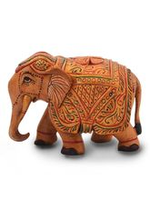 Little India Wooden Hand Carved Painted Elephant H...