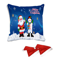 meSleep Merry Christmas Santa Digitally Printed Cushion Cover (16x16) - With 2 Pcs,  blue