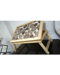 Lakshaya Multi Purpose Foldable Wooden Study Table Adjustable Bed Table, white and brown