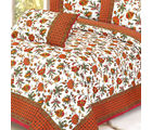 Mughal Printed Floral Motifs Pure Cotton Double Bed Sheet Set, multicolor