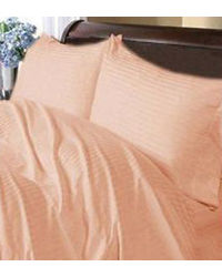 Banana Prints Deep Peach Satin Stripes Bedsheets,  peach