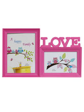 Pinkish Love 2 Pictures Collage Photo Frame, Pink