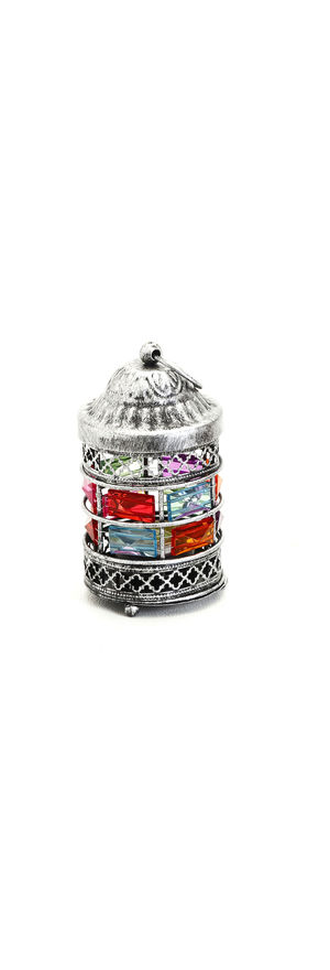 Rustic Silver Finish Gun Metal Tea Light Holder, Multicolor