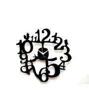 Panache Designer Wall Clock 1 to 12 w/birds Black, black
