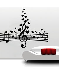 Creative Width Love For Music Wall Decal, multicolor, large