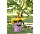 Height Of Designs Handpainted Planter With Bee & Flower Metal Patch, pink