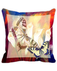 Leaf Designs Red & Brown Butterfly Cushion Cover, multicolor