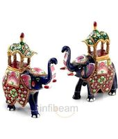 Handpainted Enamelled Metal Ambabari Elephant Pair
