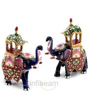 Handpainted Enamelled Metal Ambabari Elephant Pair (Multicolor)