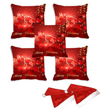 meSleep Set of 5 Merry Christmas Digitally Printed Cushion Cover (16x16) -With 2 Pcs,  red