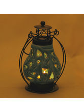 Floral Cut Light Blue Ceramic Wind Lantern Tea Light Holder