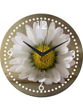 meSleep White Flower Wall Clock, multicolor