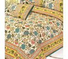 Pure Cotton Double sheet Set with Gold Mughal print, multicolor