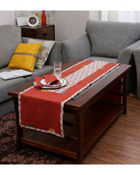Rang Desi Red Cotton Ethnic Table Linen Set,  red