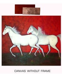 meSleep Canvas painting without frame+ Silver plated Rs. 1000 replica note - Running Horses, multicolor