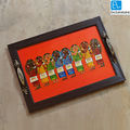 ExclusiveLane Canvas Handpainted Tribal Ladies Tray, multicolor