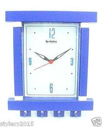 Wall Clock+ Key Holder,  blue