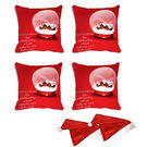 meSleep Set of 4 Christmas House Digitally Printed Cushion Cover (16x16) -With Free 2 Pcs,  red