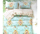 Aapno Rajasthan Sweet Cotton Double Bedsheet with Floral Print, blue