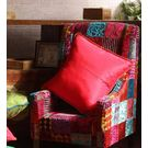 Rang Desi Raw Silk Cushion Cover Red,  red