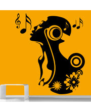 Creative Width Singing Girl Wall Decal, Multicolor, Large