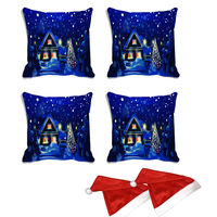 meSleep Set of 4 Merry Christmas House Digitally Printed Cushion Cover (16x16) -With Free 2 Pcs,  blue
