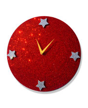 Zeeshaan The Red Crystal Dial Wall Clock, multicolor