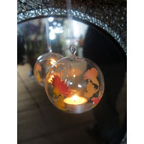 Importwala Printed Hanging Glass Ball, multicolor