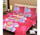 La Elite pure Thick Cotton Pretty Leaves Print Double Bed Sheet, pink