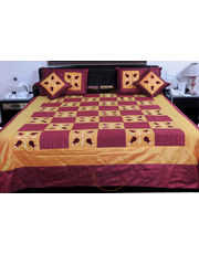 5 Piece Brown Maroon Silk Double Bed Spread -332