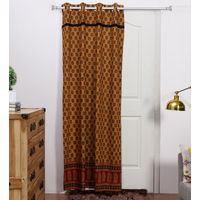 Rang Desi_ Yellows Cotton Ethnic Door Curtain,  brown