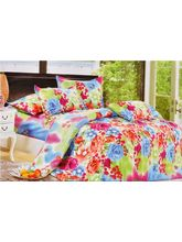 Welhouse India Floral design double bed sheet with 2 pillow covers, design1