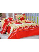 K Decor Sweet Red Roses Print Double Bed Sheet, Cr...