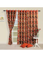 Floral Waterfall Curtain (Multicolor,Curtain(54 Inch X 60 Inch))