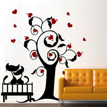 Creative Width Cats In Love 2 Wall Decal, multicolor, medium