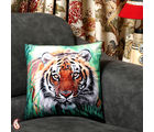 Ranthambore Tiger Velvet Cushion Cover (Multicolor)