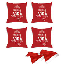 meSleep Set of 4 Christmas Digitally Printed Cushion Cover (16x16) -With Free 2 Pcs,  red