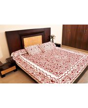Banana Prints Set Of Three Hand Woollen Bed Cover - BC_ 3018, Multicolor