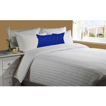 meSleep White 230Tc Satin Stripe Bed Sheet with 5 pc Blue Velvet cushion covers.,  blue