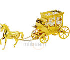 Horse With Carriage 24K Gold Plated Gift With Swarovski Crystals (Gold)