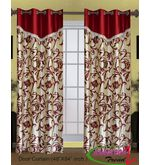 HandloomTrendz Laurel Flower Vine Design Valance Style Door Curtain (CND178), maroon