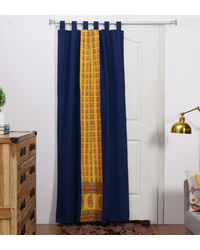 Rang Desi Blue Cotton 84 x 48 Inch Bagh Patch Handcrafted And Hand-Embroidered Curtain -,  blue