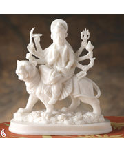 Mata Chadraghanta Sculpture In Pure White Marble (White)