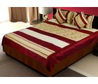 Little India 5 Piece Silk Bedcover Cushion n Pillow Covers Set 391, maroon