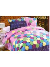 Valtellina Polycotton Circle Design Double Bed Sheet with Two Pillow Cover, design1