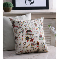 Rang Desi_ Bhagalpuri Silk Hand Block Printed Cushion Cover, multicolor