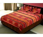 Little India 5 Piece Silk Bedcover Cushion n Pillow Covers Set 406, maroon