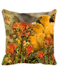 Leaf Designs Yellow & Orange Parrot Cushion Cover, multicolor